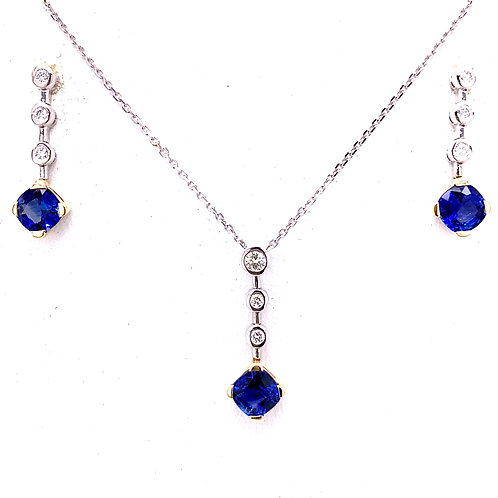 Sapphire & Diamond Necklace and Earrings