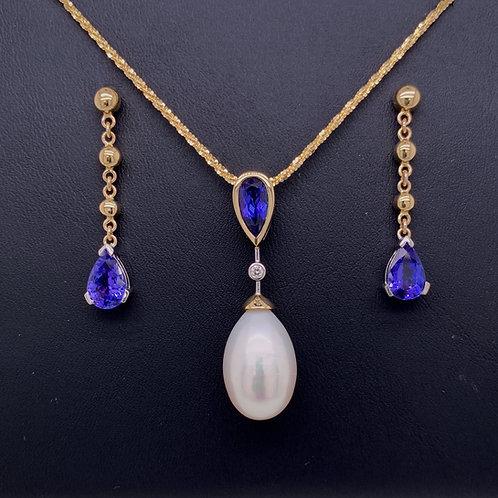 Tanzanite, Freshwater Pearl & Diamond Necklace and Tanzanite Earrings