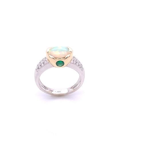 Opal, Emerald & Diamond Ring