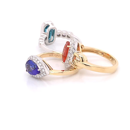 Zircon, Mexican Opal and Tanzanite Rings with Diamonds