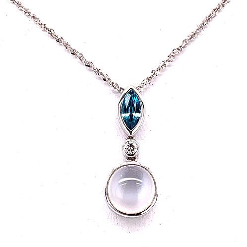 Cat's Eye Moonstone, Zircon & Diamond Necklace