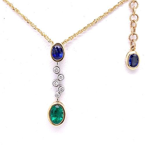 Emerald, Sapphire & Diamond Necklace