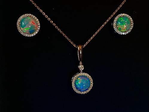 Crystal Opal & Diamond Necklace and Earrings