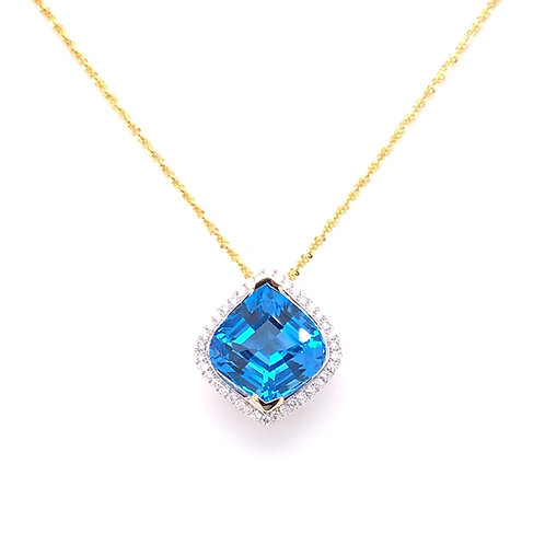 Blue Topaz & Diamond Necklace