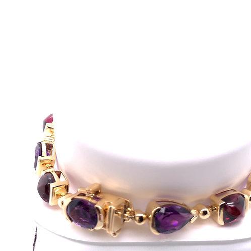 Amethyst & Rhodolite Bracelet