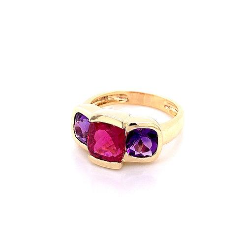 Pink Tourmaline & Amethyst Ring