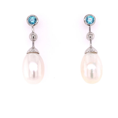 Zircon & Freshwater Pearl Earrings