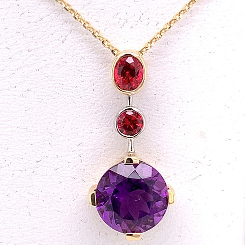 Amethyst & Red Spinel Necklace