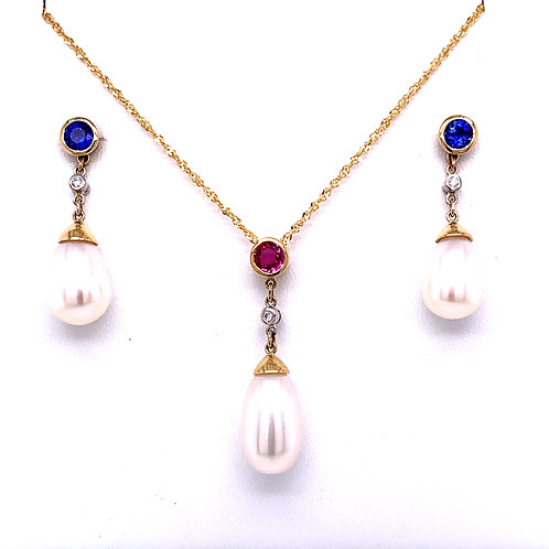 Sapphire, Diamond & Freshwater Pearl Necklace and Earrings