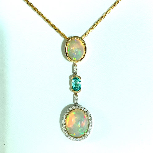 Opal, Paraiba Tourmaline & Diamond Necklace