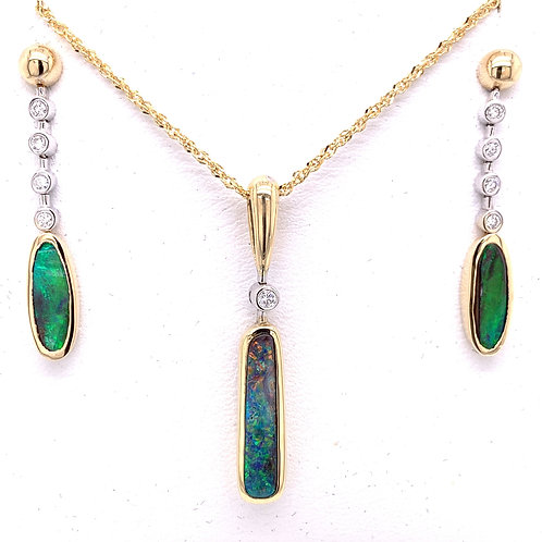 Black Boulder Opal & Diamond Necklace and Earrings