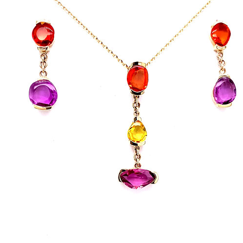 Multi-Color Sapphire Necklace and Earrings