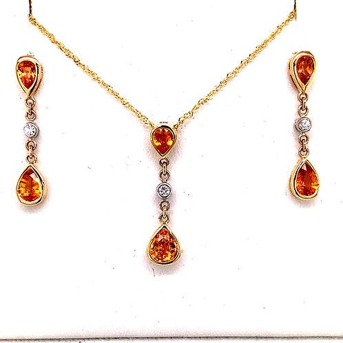 Spessarite Garnet &Diamond Necklace and Earrings