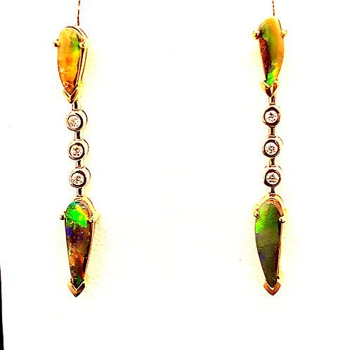 Black Boulder Opal Earrings