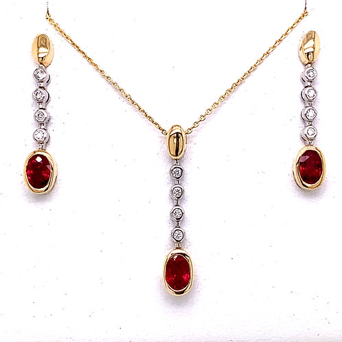 Ruby & Diamond Necklace and Earrings