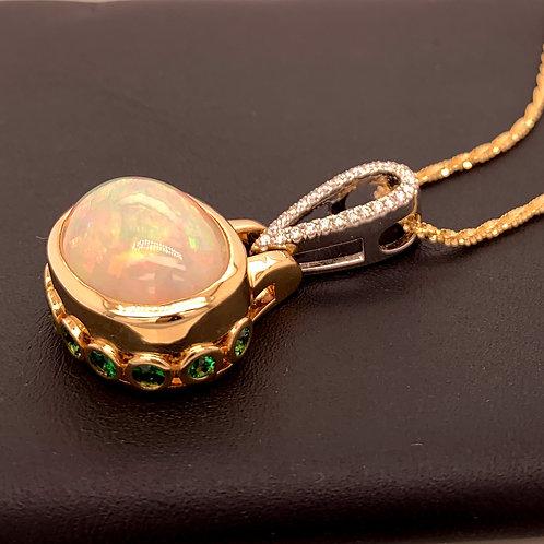 Opal, Tsavorite & Diamond Necklace