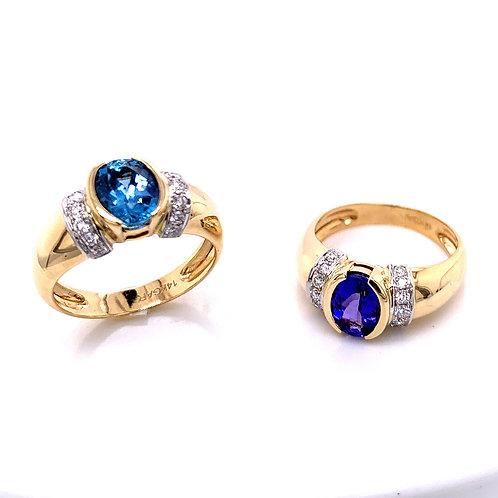 Aquamarine & Diamond and Tanzanite & Diamond Rings