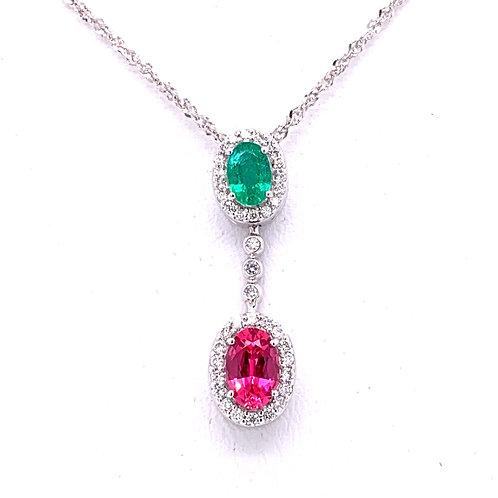 Emerald, Spinel & Diamond Necklace