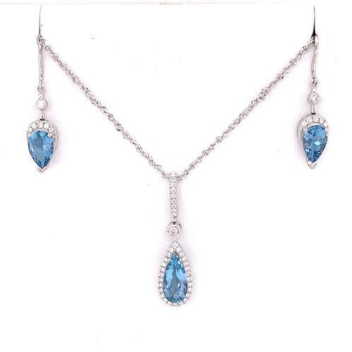 Aquamarine & Diamond Necklace and Earrings