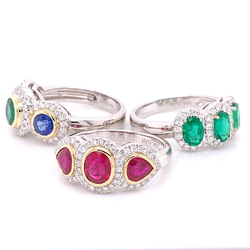 Ruby, Emerald & Sapphire and Emerald Rings with Diamonds