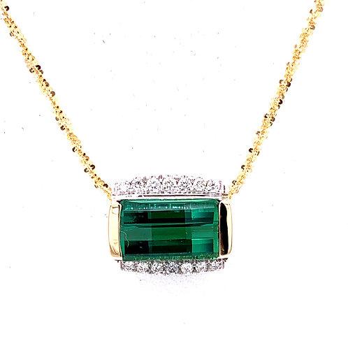 Green Tourmaline & Diamond Necklace