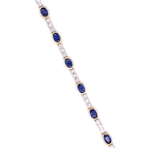 Ceylon Blue Sapphire & Diamond Bracelet