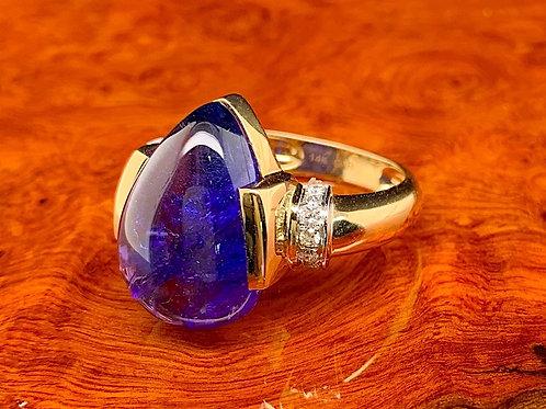 Cabochon Tanzanite & Diamond Ring
