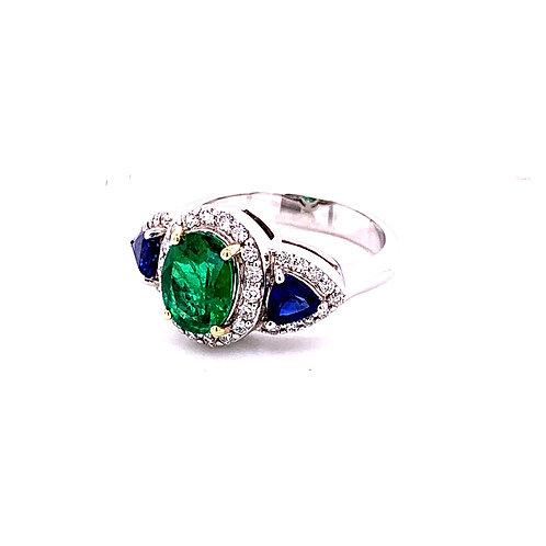 Emerald, Sapphire & Diamond Ring