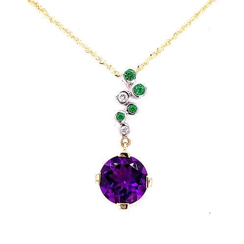 Amethyst, Tsavorite & Diamond Necklace