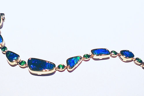 Black Boulder Opal & Tsavorite Bracelet