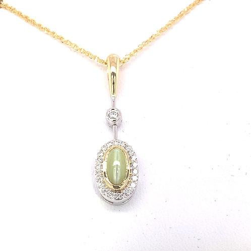 Cat's Eye Chrysoberyl &Diamond Necklace