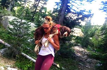 Une femme porte un chien perdu et blessé pendant six heures sur son dos pour le sauver !