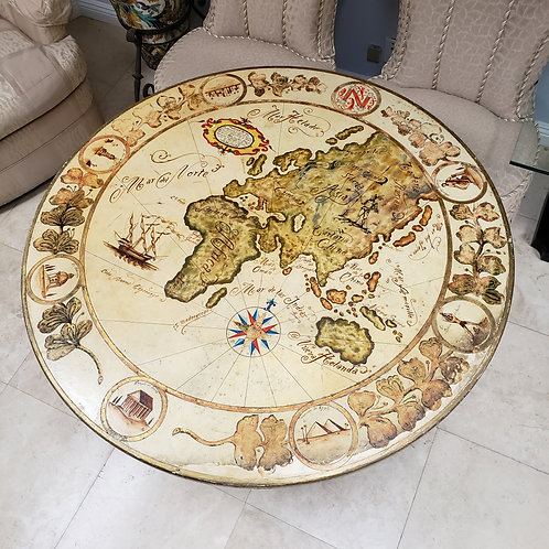 Spanish Hand Painted Old World Map Table