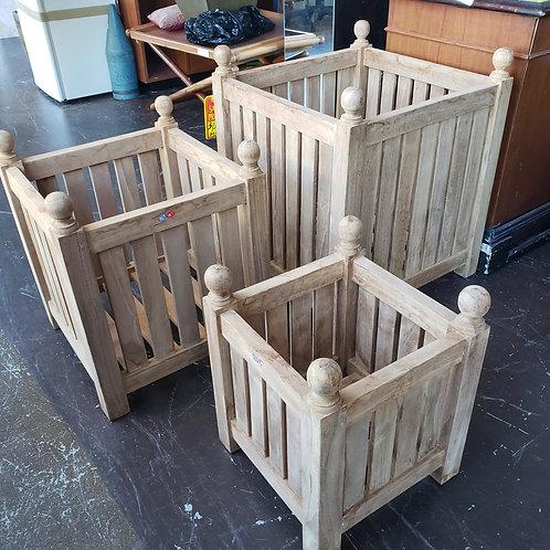 Teak Planter Boxes- Set of 3