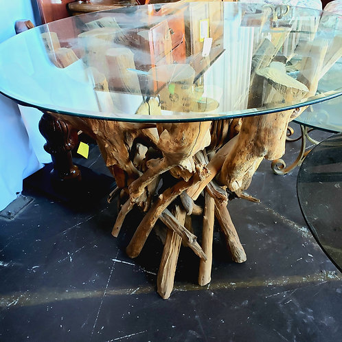 Bali Indonesian Teak and Glass Top Round Table