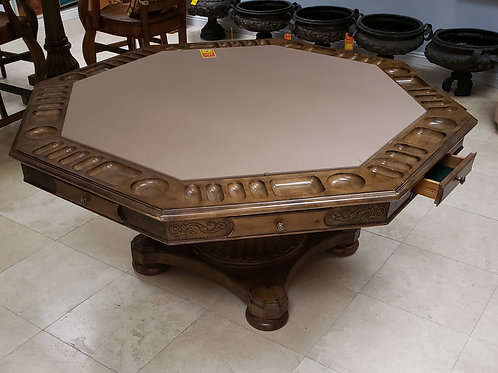 Rustic Carved Wood Octagon Poker Table