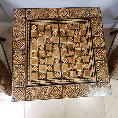Antique Inlaid Mosaic Wood Game Table