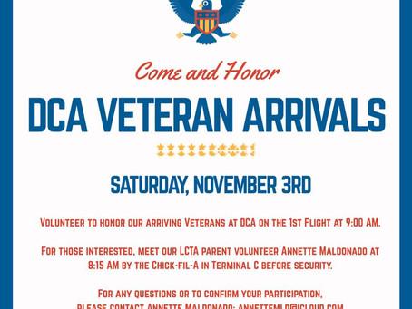 DCA Veteran Arrivals - Sat Nov 3