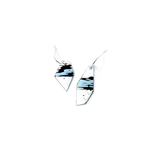 Blue Accent Splash! Angular Mismatched Earrings