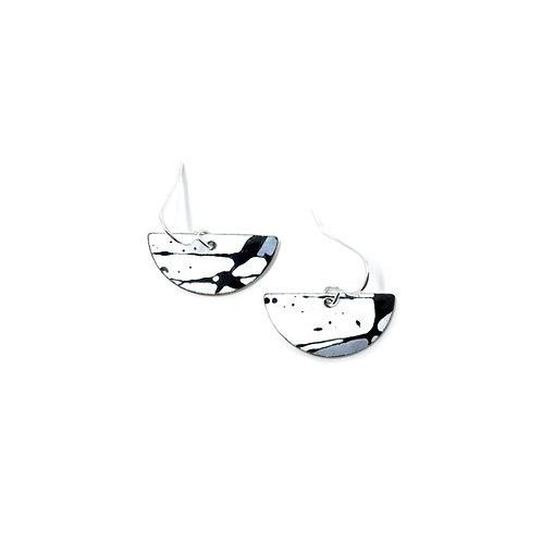 Grey Accent Splash! Semi-Circle Earrings