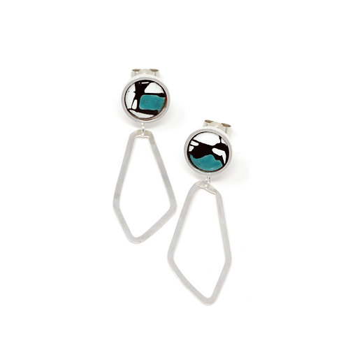 Turquoise Accent Splash! Silver Freeform Earrings