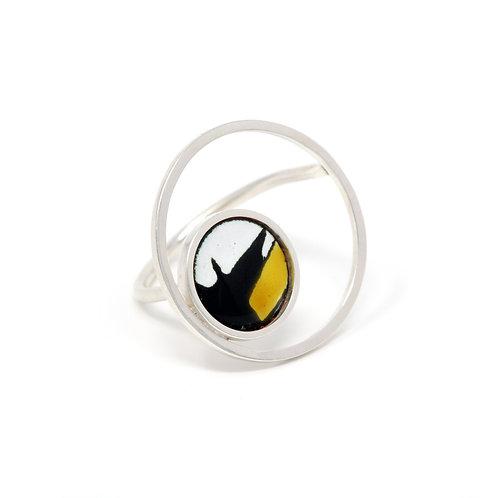 Yellow Accent Splash! Large Circle Ring