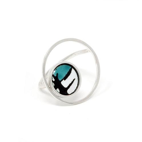 Turquoise Accent Splash! Large Circle Ring