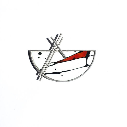 Red Accent Splash! Silver Set Brooch