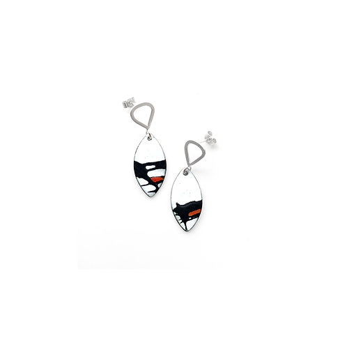 Red Accent Splash! Shield Earrings with Triangle