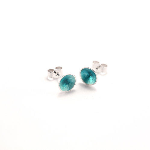 Turquoise Silver Cone Studs
