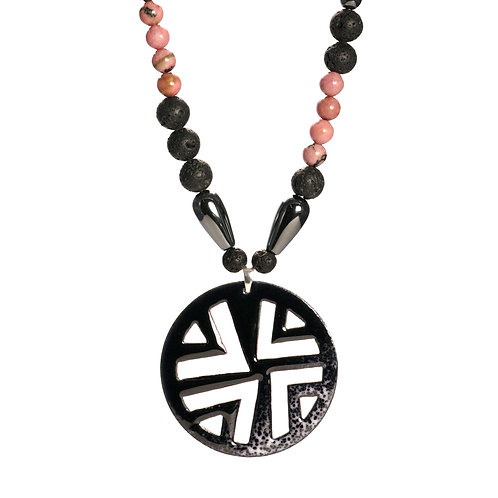 Organic Black-Pink Triangled Necklace