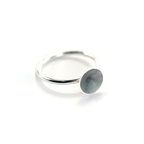 Grey Enamel Silver Cone Ring