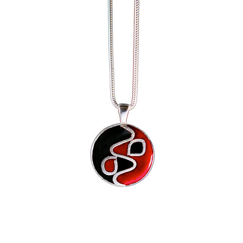 Black & Red Zig-Zag Pendant