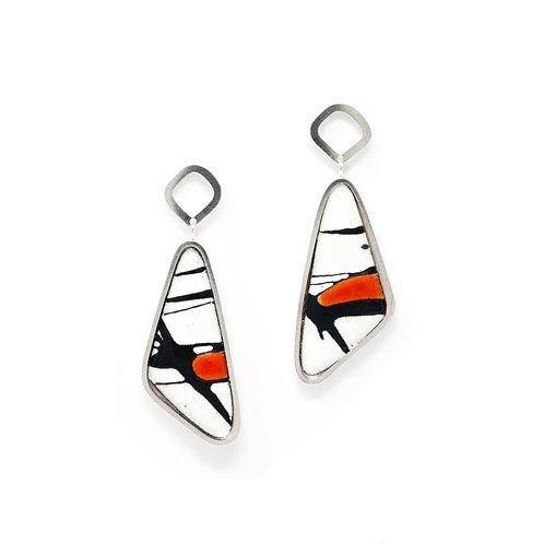 Red Accent Splash! Off Centre Drop Silver Earrings